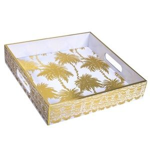 Lilly Pulitzer Lacquer Tray Metallic Palms